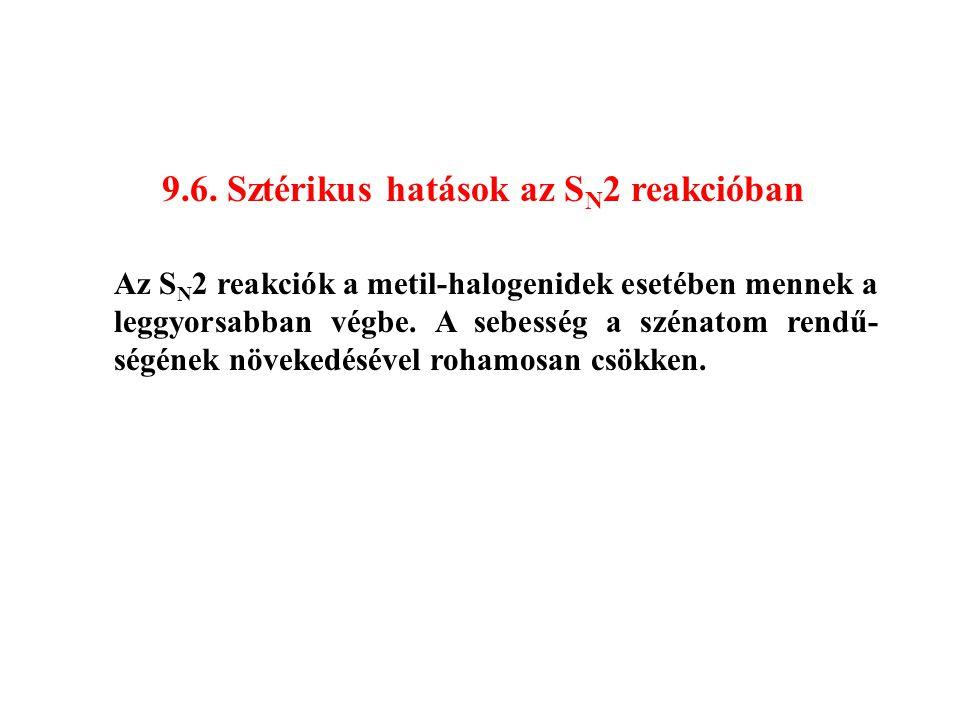 9.6. Sztérikus hatások az SN2 reakcióban