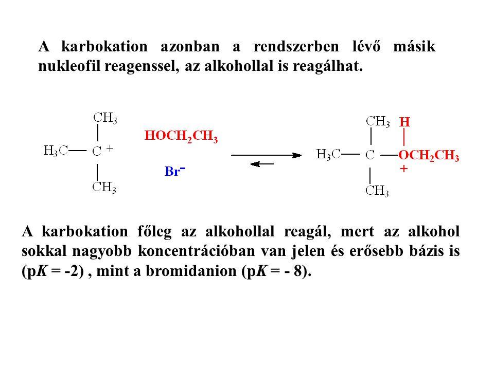 A karbokation azonban a rendszerben lévő másik nukleofil reagenssel, az alkohollal is reagálhat.