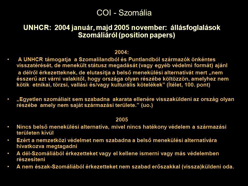 COI - Szomália UNHCR: 2004 január, majd 2005 november: állásfoglalások Szomáliáról (position papers)