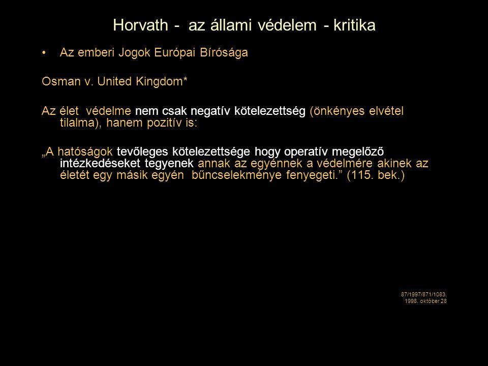 Horvath - az állami védelem - kritika