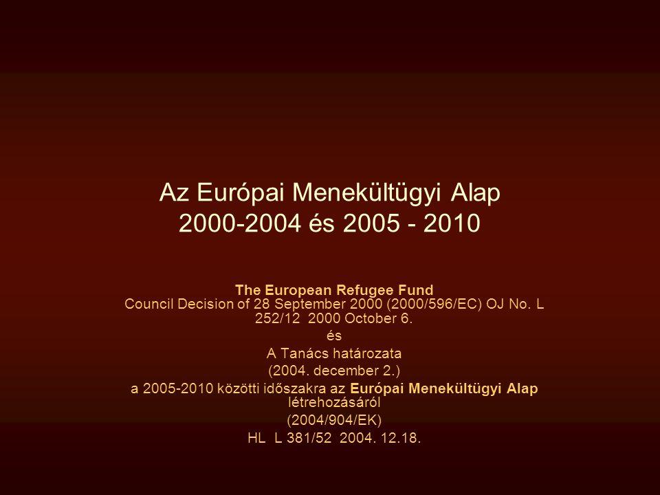 Az Európai Menekültügyi Alap 2000-2004 és 2005 - 2010