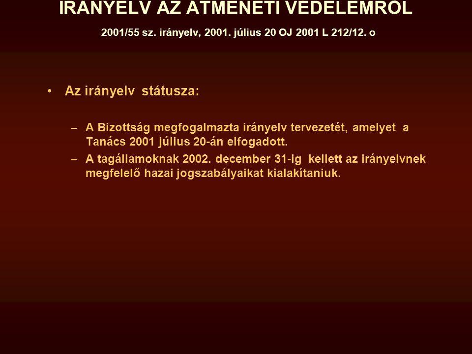 IRÁNYELV AZ ÁTMENETI VÉDELEMRŐL 2001/55 sz. irányelv, 2001