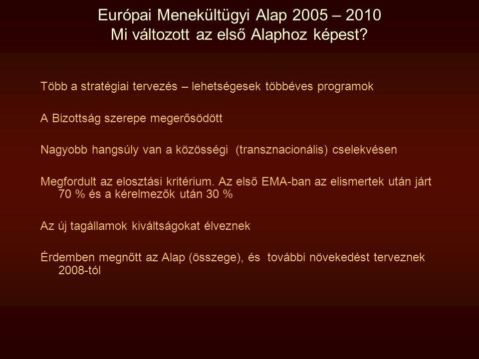 Európai Menekültügyi Alap 2005 – 2010 Mi változott az első Alaphoz képest