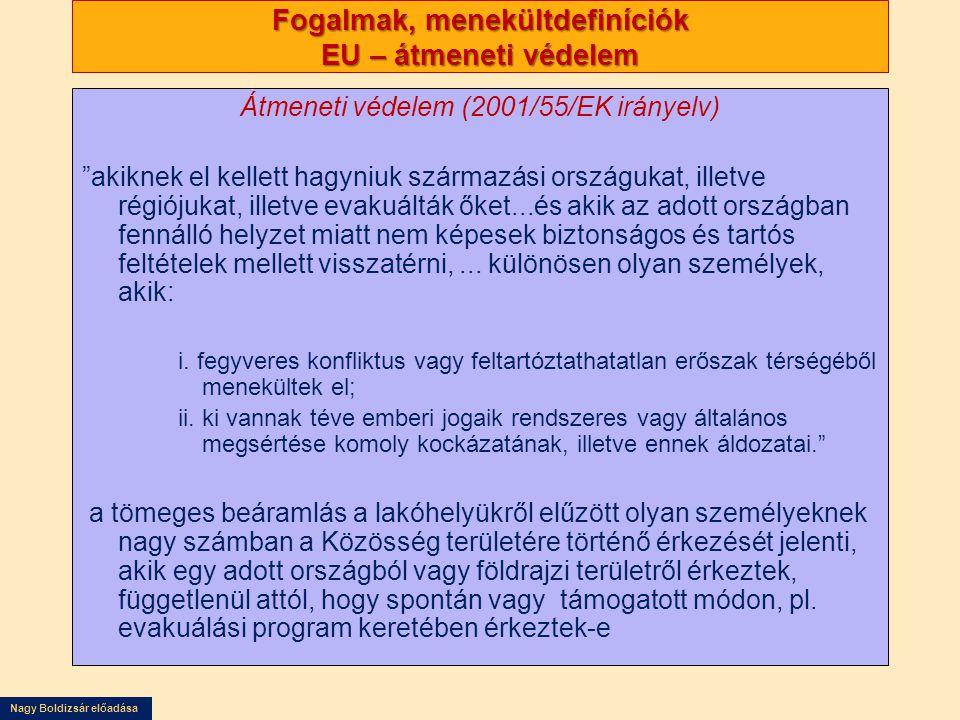 Fogalmak, menekültdefiníciók EU – átmeneti védelem