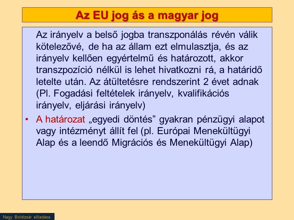 Az EU jog ás a magyar jog