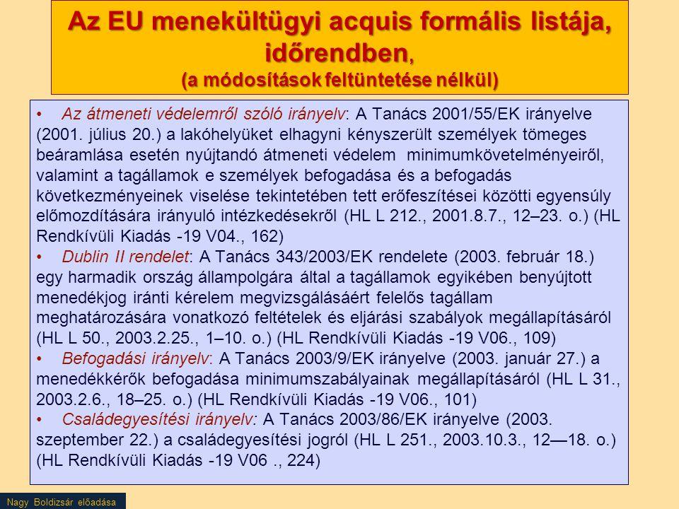 Az EU menekültügyi acquis formális listája, időrendben, (a módosítások feltüntetése nélkül)