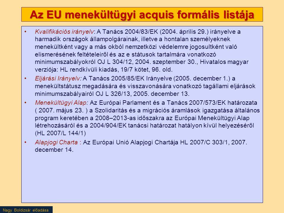 Az EU menekültügyi acquis formális listája