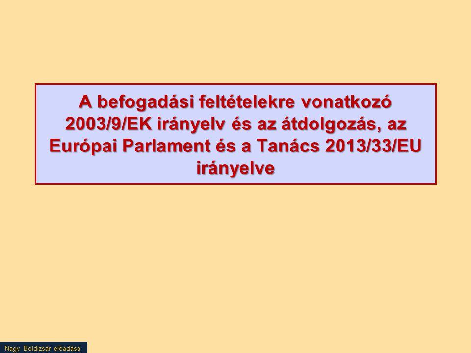 A befogadási feltételekre vonatkozó 2003/9/EK irányelv és az átdolgozás, az Európai Parlament és a Tanács 2013/33/EU irányelve