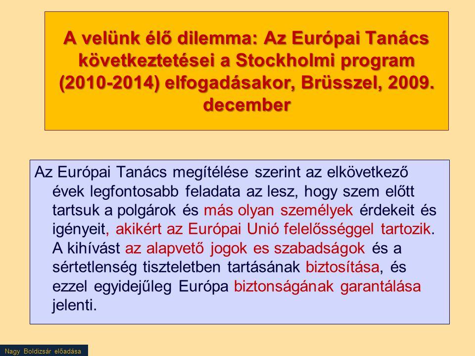 A velünk élő dilemma: Az Európai Tanács következtetései a Stockholmi program (2010-2014) elfogadásakor, Brüsszel, 2009. december