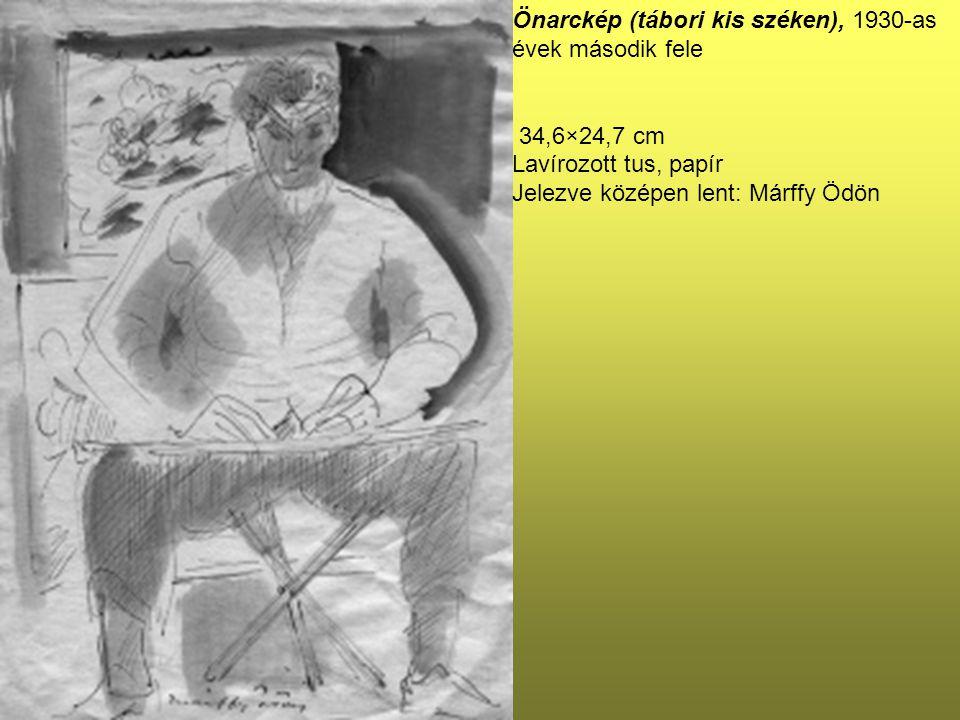 Önarckép (tábori kis széken), 1930-as évek második fele