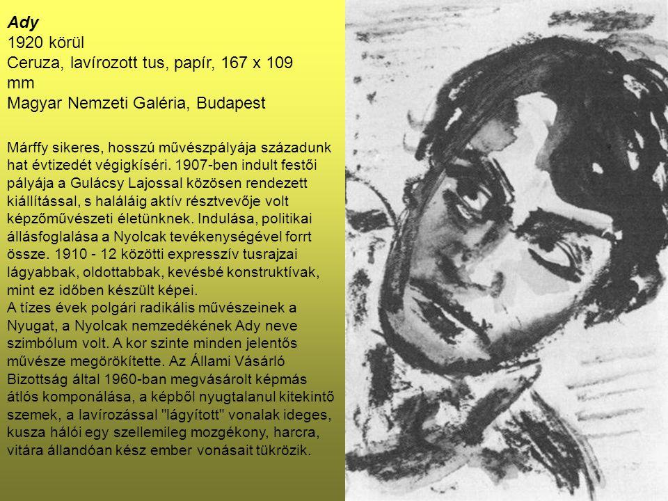Ady 1920 körül Ceruza, lavírozott tus, papír, 167 x 109 mm Magyar Nemzeti Galéria, Budapest