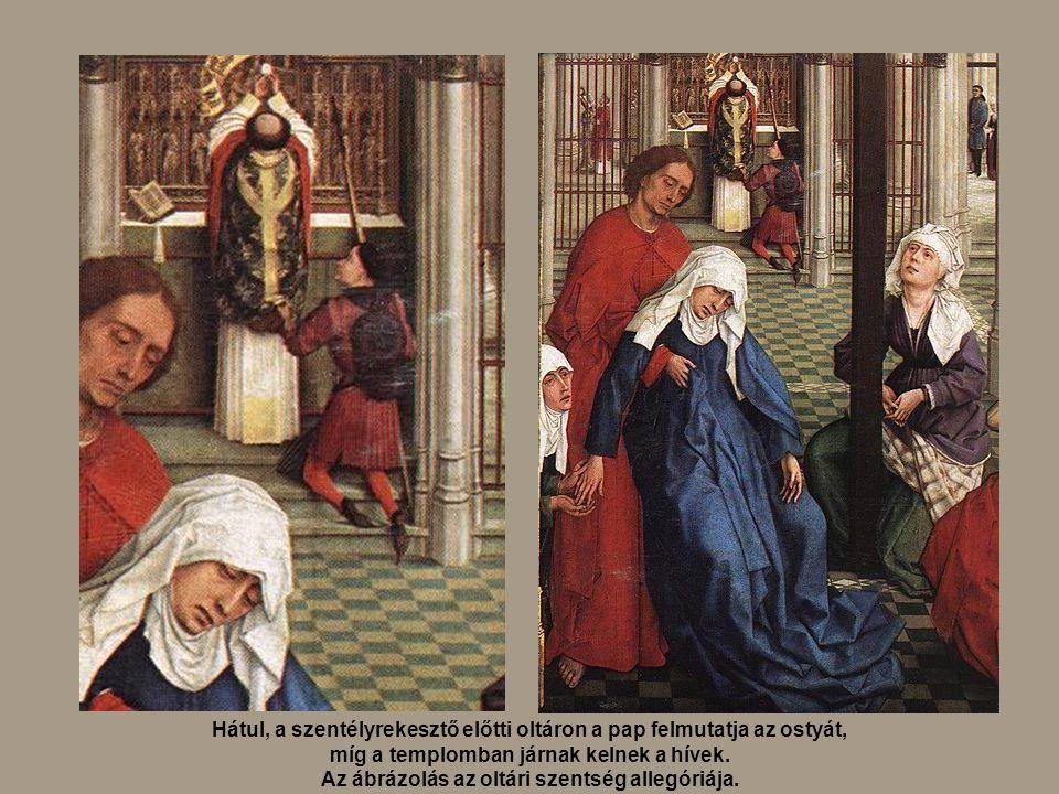 Hátul, a szentélyrekesztő előtti oltáron a pap felmutatja az ostyát,