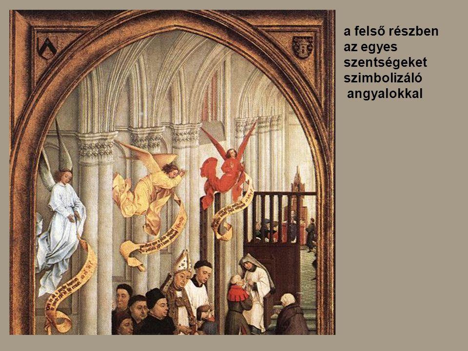 a felső részben az egyes szentségeket szimbolizáló angyalokkal