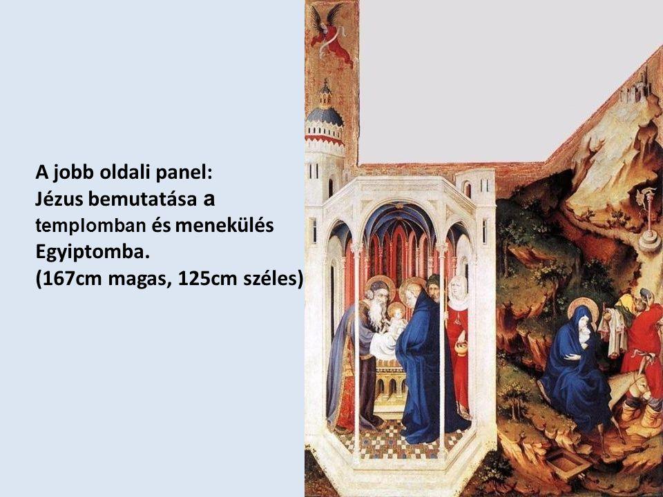 A jobb oldali panel: Jézus bemutatása a templomban és menekülés Egyiptomba.