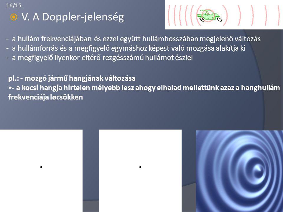 V. A Doppler-jelenség - a hullám frekvenciájában és ezzel együtt hullámhosszában megjelenő változás.