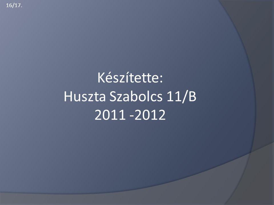 Készítette: Huszta Szabolcs 11/B 2011 -2012