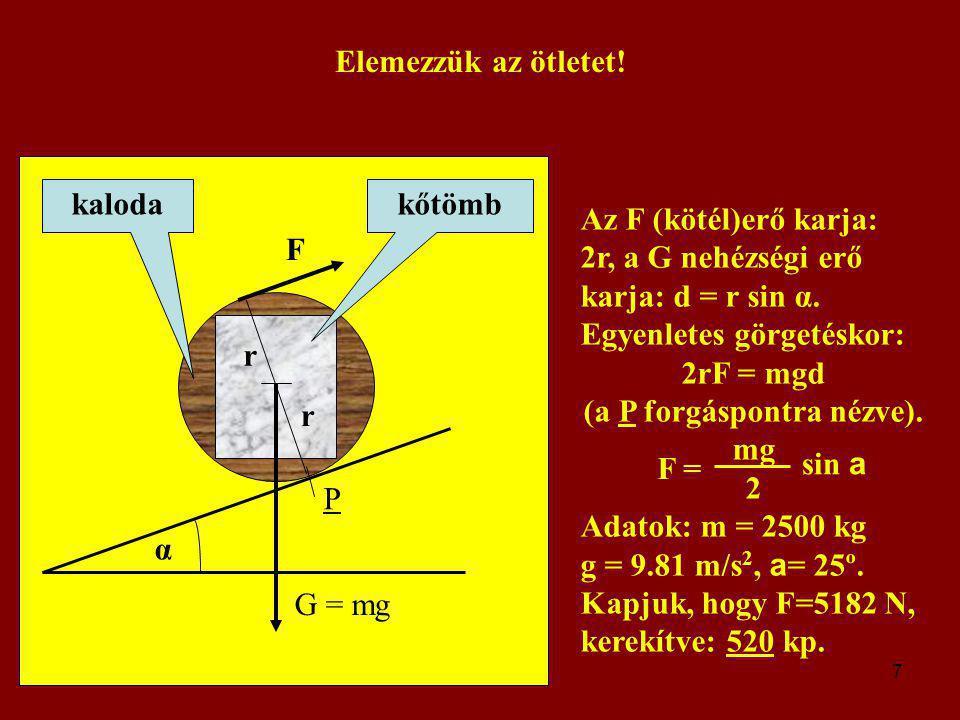 2rF = mgd (a P forgáspontra nézve).
