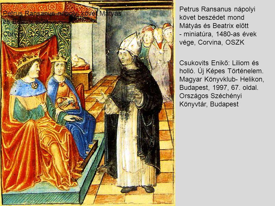 Petrus Ransanus nápolyi követ beszédet mond Mátyás és Beatrix előtt - miniatúra, 1480-as évek vége, Corvina, OSZK