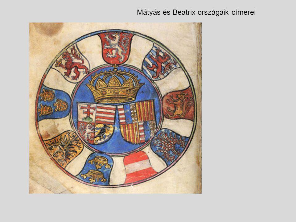 Mátyás és Beatrix országaik címerei
