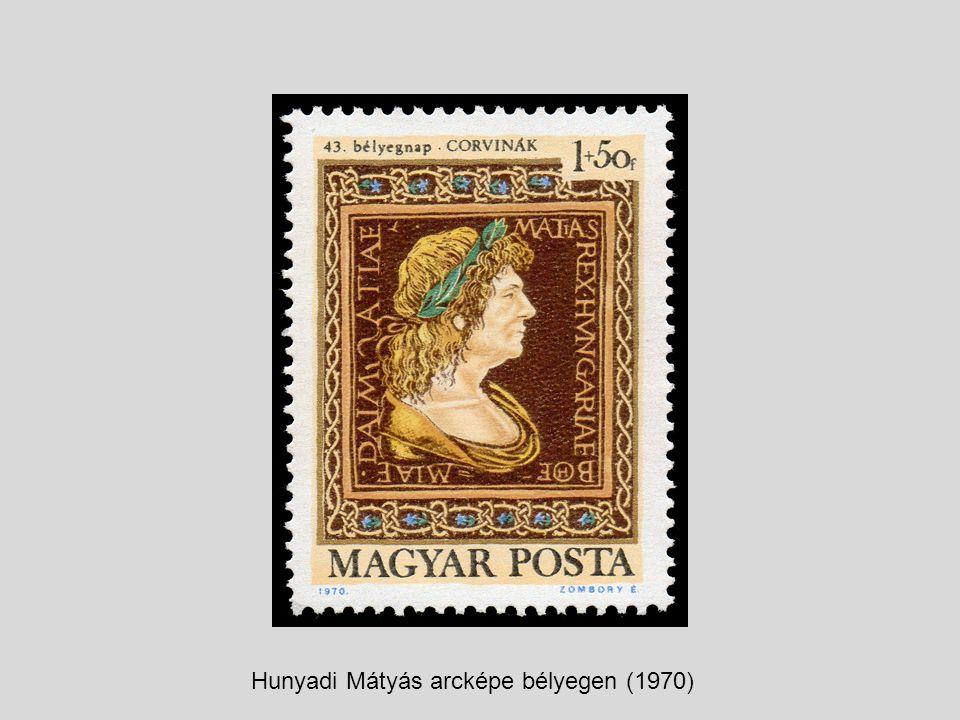 Hunyadi Mátyás arcképe bélyegen (1970)