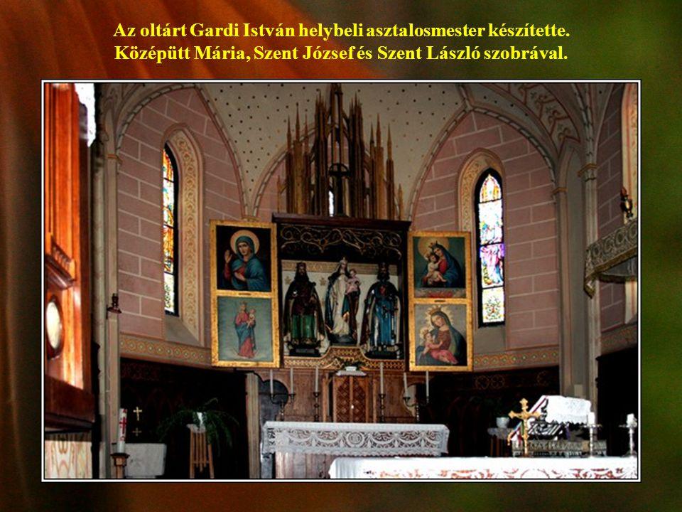 Az oltárt Gardi István helybeli asztalosmester készítette