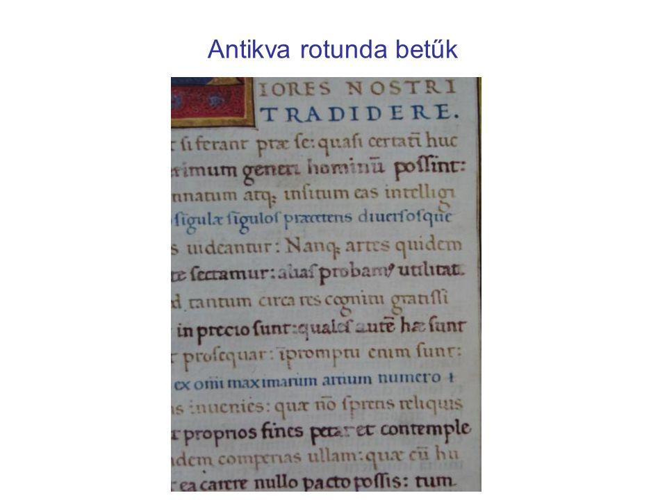 Antikva rotunda betűk