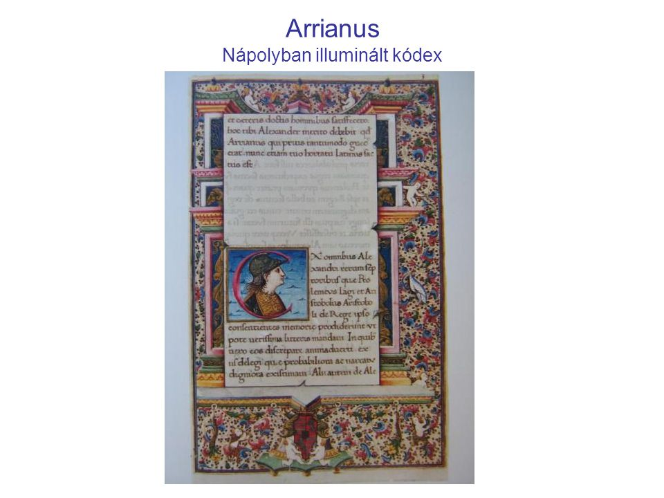 Arrianus Nápolyban illuminált kódex