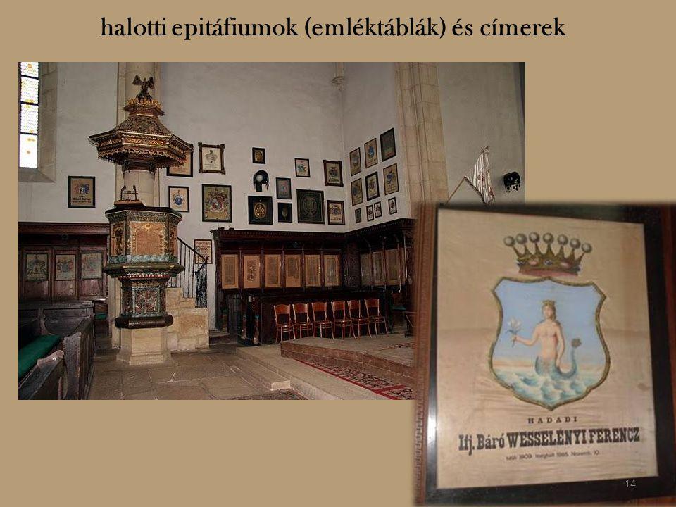 halotti epitáfiumok (emléktáblák) és címerek