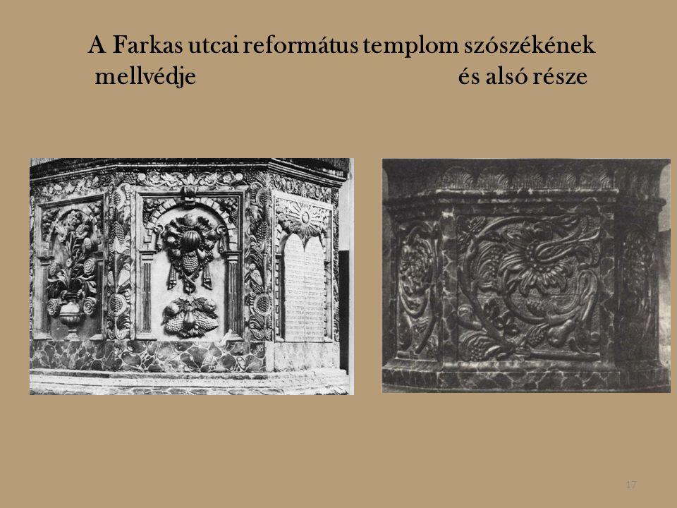 A Farkas utcai református templom szószékének mellvédje és alsó része