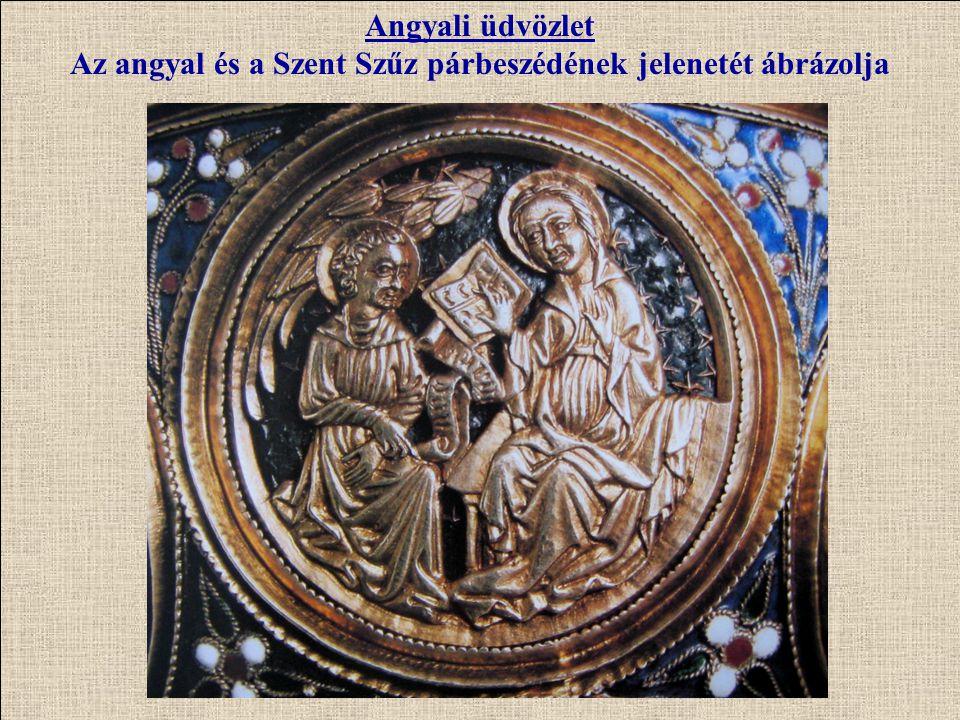 Az angyal és a Szent Szűz párbeszédének jelenetét ábrázolja