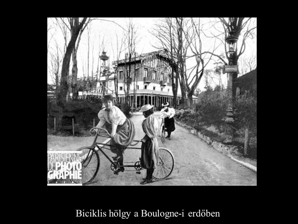 Biciklis hölgy a Boulogne-i erdőben