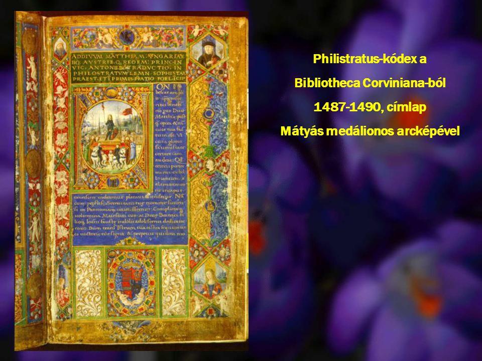 Bibliotheca Corviniana-ból Mátyás medálionos arcképével