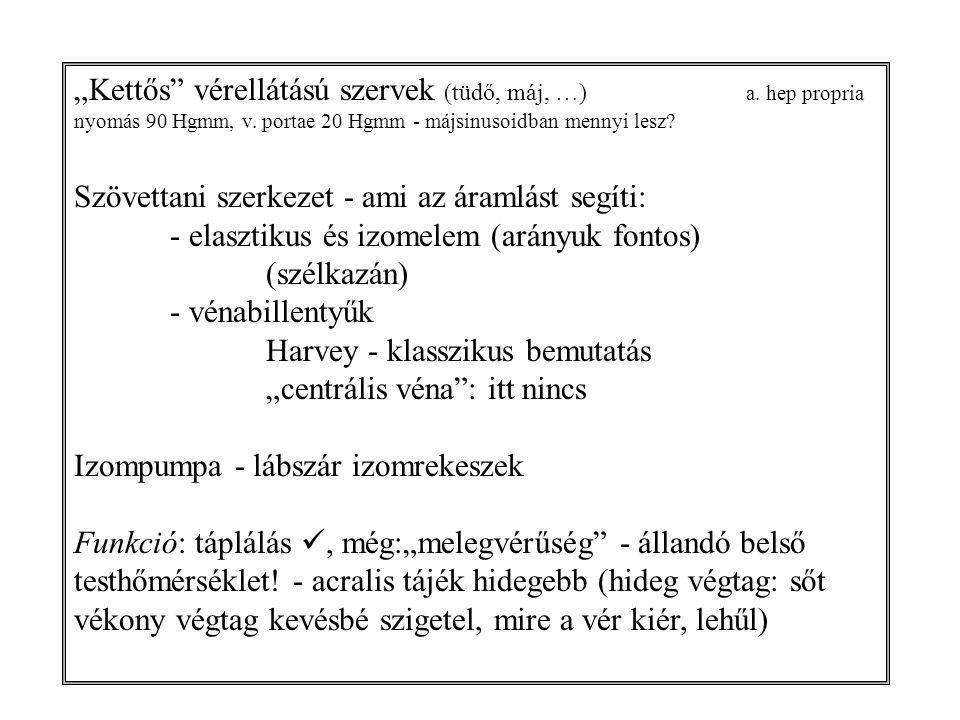 """""""Kettős vérellátású szervek (tüdő, máj, …). a"""