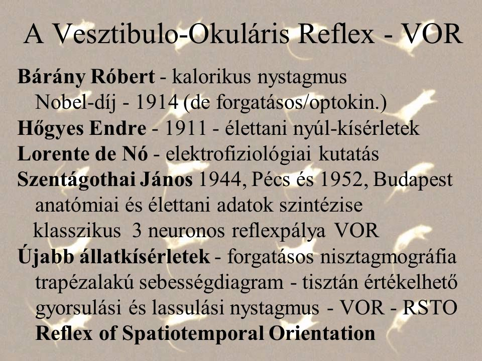 A Vesztibulo-Okuláris Reflex - VOR