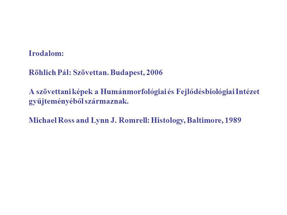 Irodalom: Röhlich Pál: Szövettan. Budapest, 2006. A szövettani képek a Humánmorfológiai és Fejlődésbiológiai Intézet gyűjteményéből származnak.