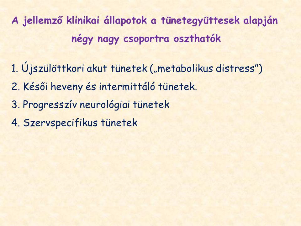 A jellemző klinikai állapotok a tünetegyüttesek alapján