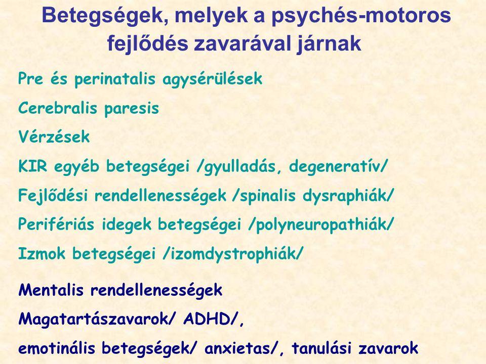 Betegségek, melyek a psychés-motoros fejlődés zavarával járnak