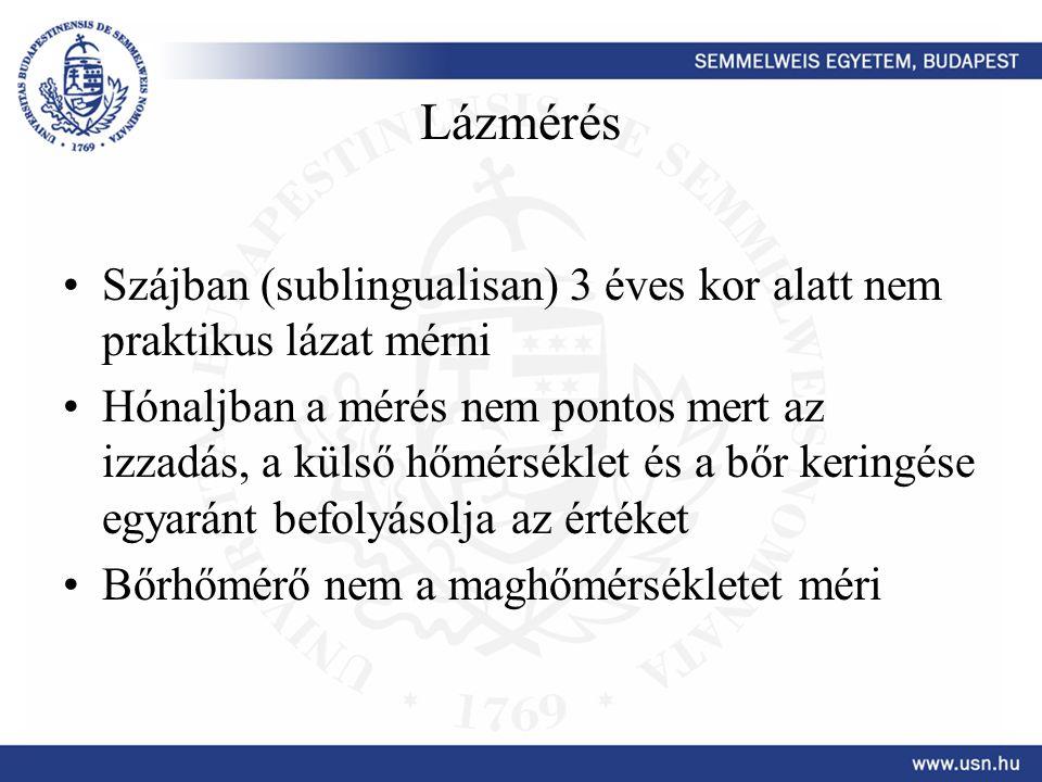 Lázmérés Szájban (sublingualisan) 3 éves kor alatt nem praktikus lázat mérni.