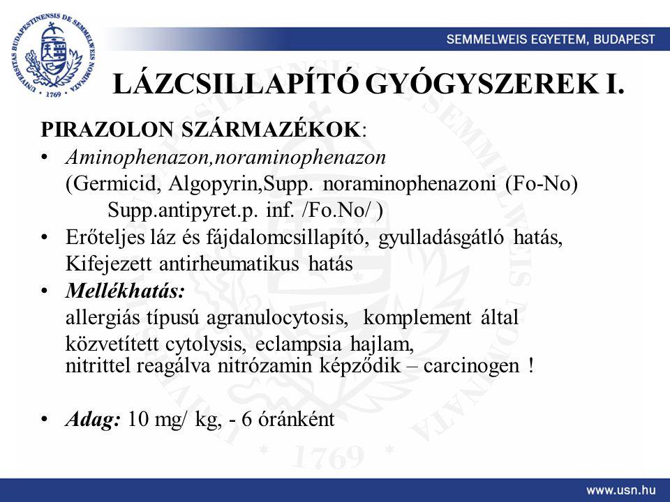 LÁZCSILLAPÍTÓ GYÓGYSZEREK I.