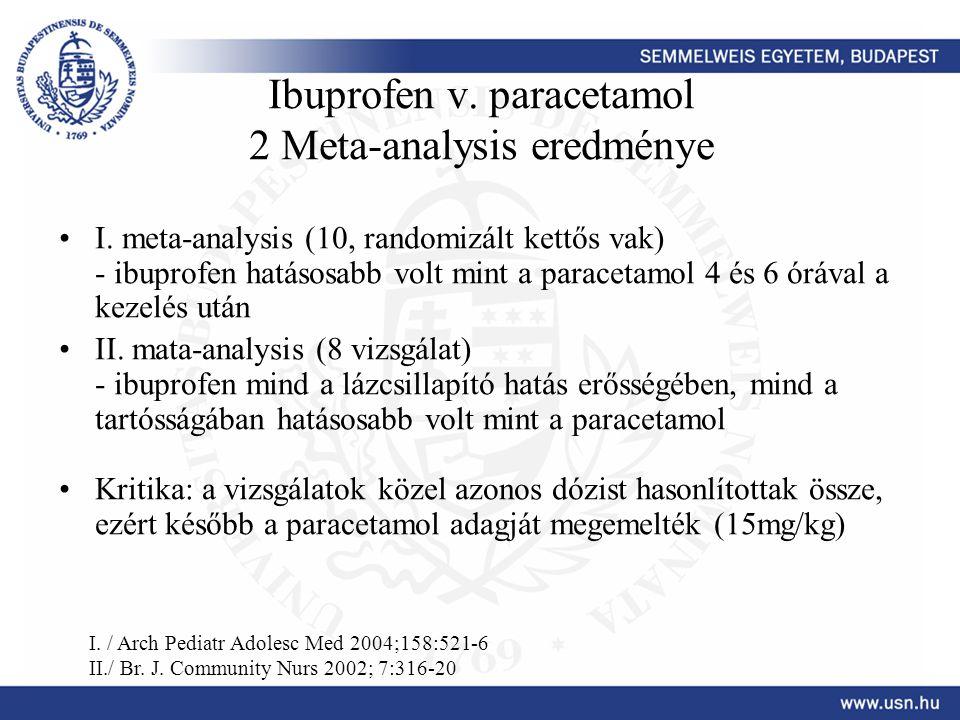 Ibuprofen v. paracetamol 2 Meta-analysis eredménye