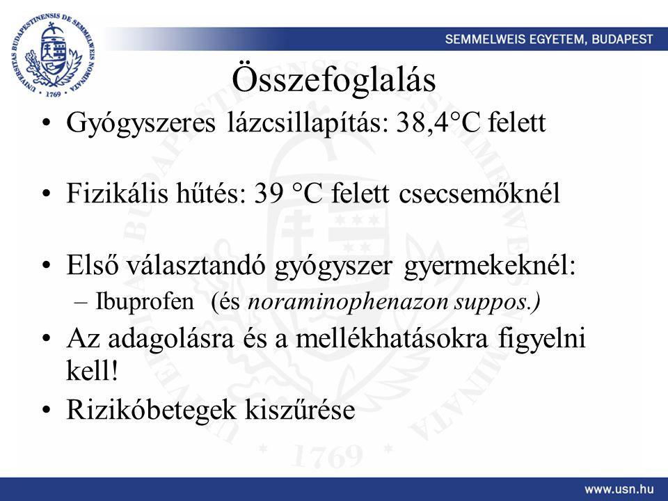 Összefoglalás Gyógyszeres lázcsillapítás: 38,4°C felett