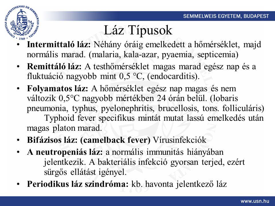 Láz Típusok Intermittaló láz: Néhány óráig emelkedett a hőmérséklet, majd normális marad. (malaria, kala-azar, pyaemia, septicemia)