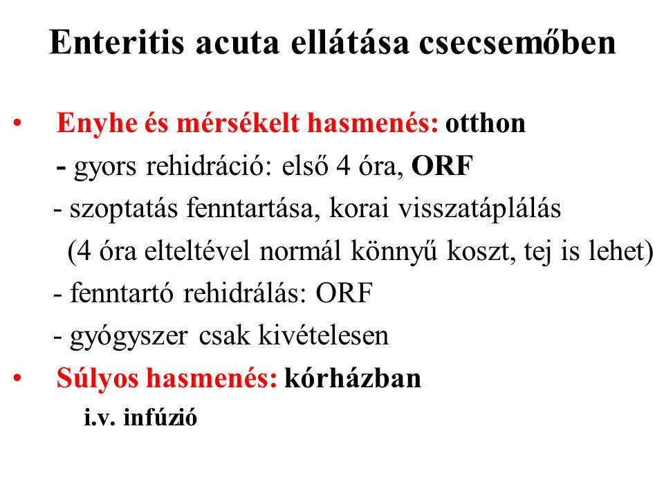 Enteritis acuta ellátása csecsemőben
