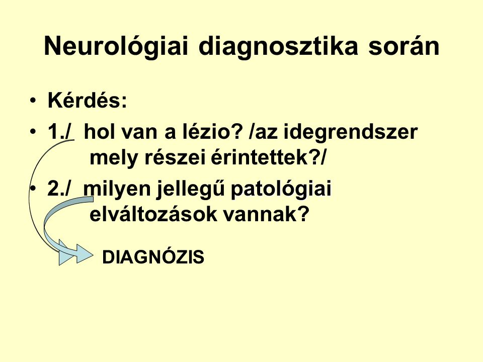 Neurológiai diagnosztika során