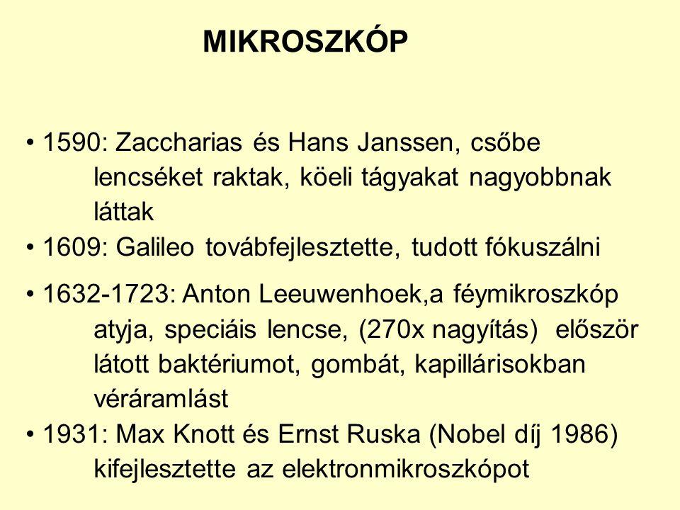 MIKROSZKÓP • 1590: Zaccharias és Hans Janssen, csőbe lencséket raktak, köeli tágyakat nagyobbnak láttak.