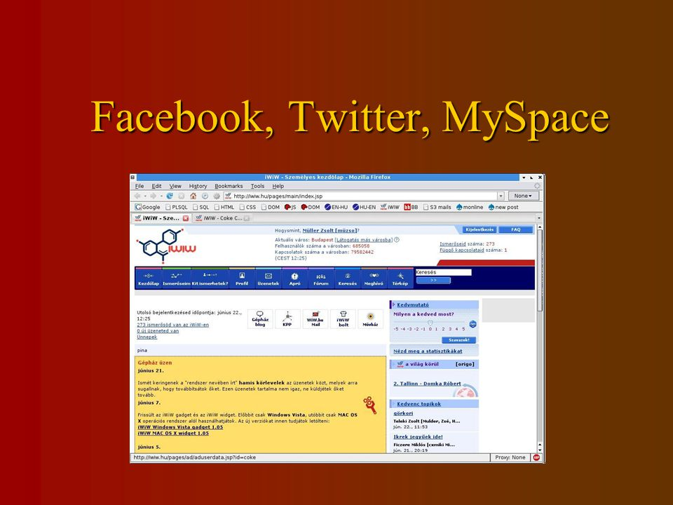 Facebook, Twitter, MySpace