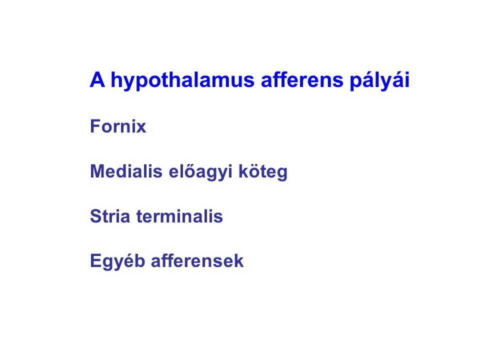 A hypothalamus afferens pályái