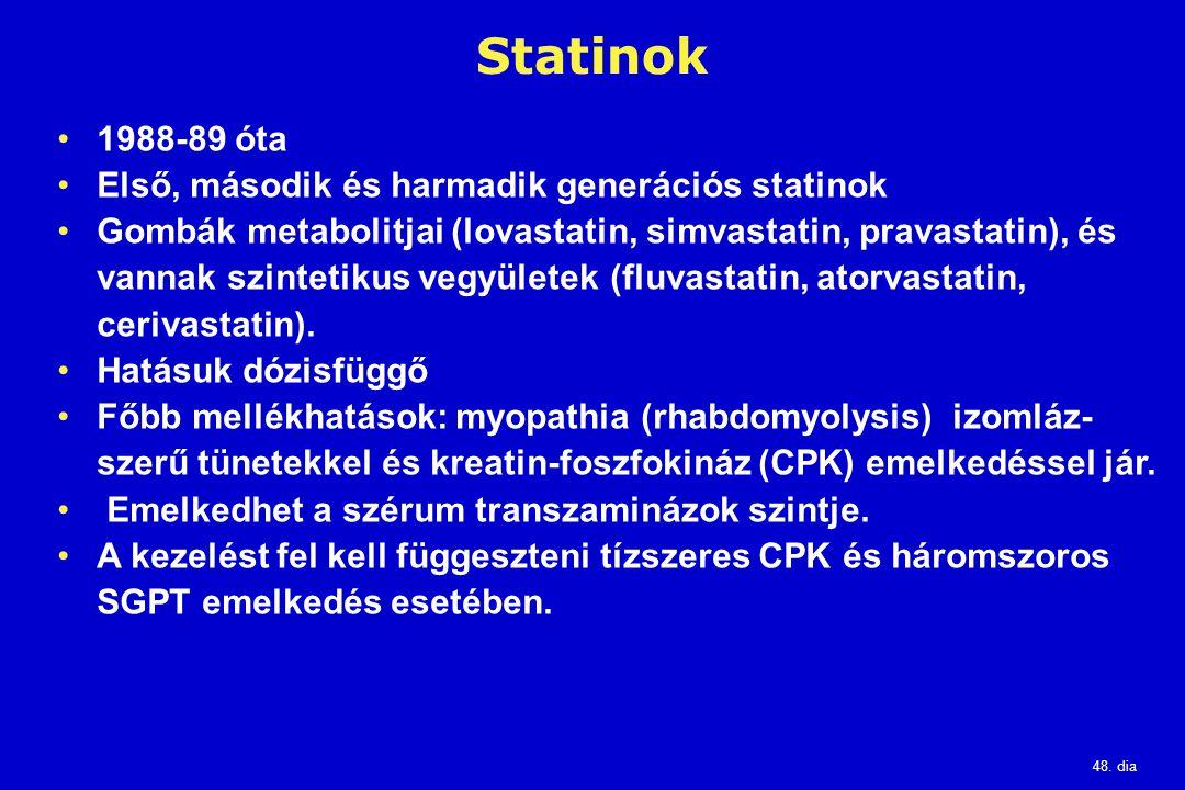 Statinok 1988-89 óta Első, második és harmadik generációs statinok