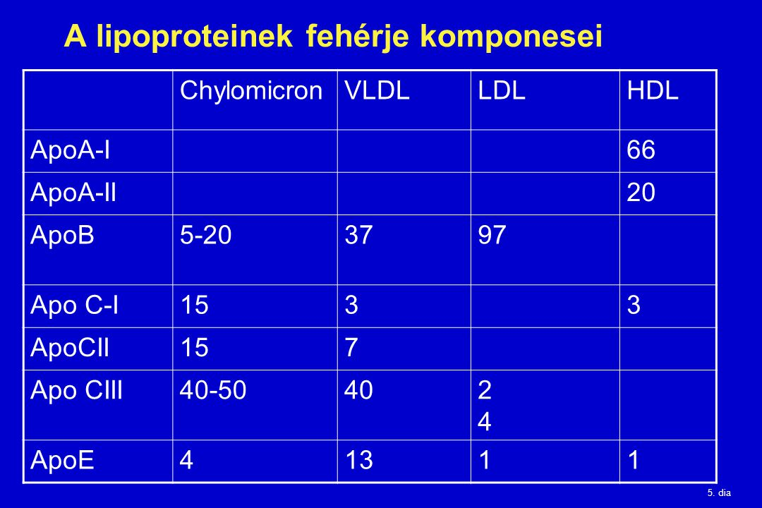 A lipoproteinek fehérje komponesei