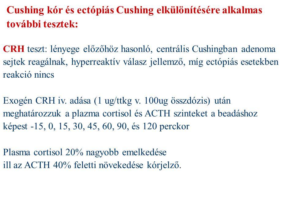 Cushing kór és ectópiás Cushing elkülönítésére alkalmas további tesztek: